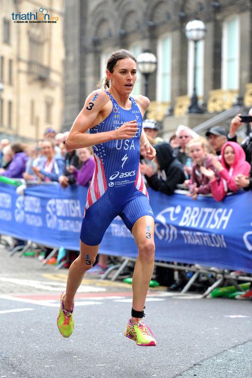 Gwen Jorgensen running in Leeds