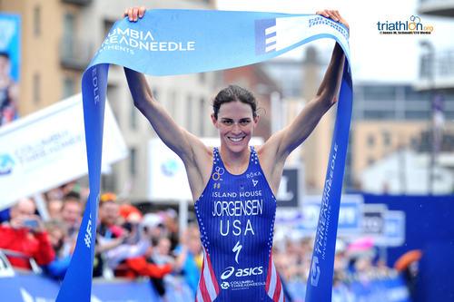 Gwen Jorgensen winning in Leeds