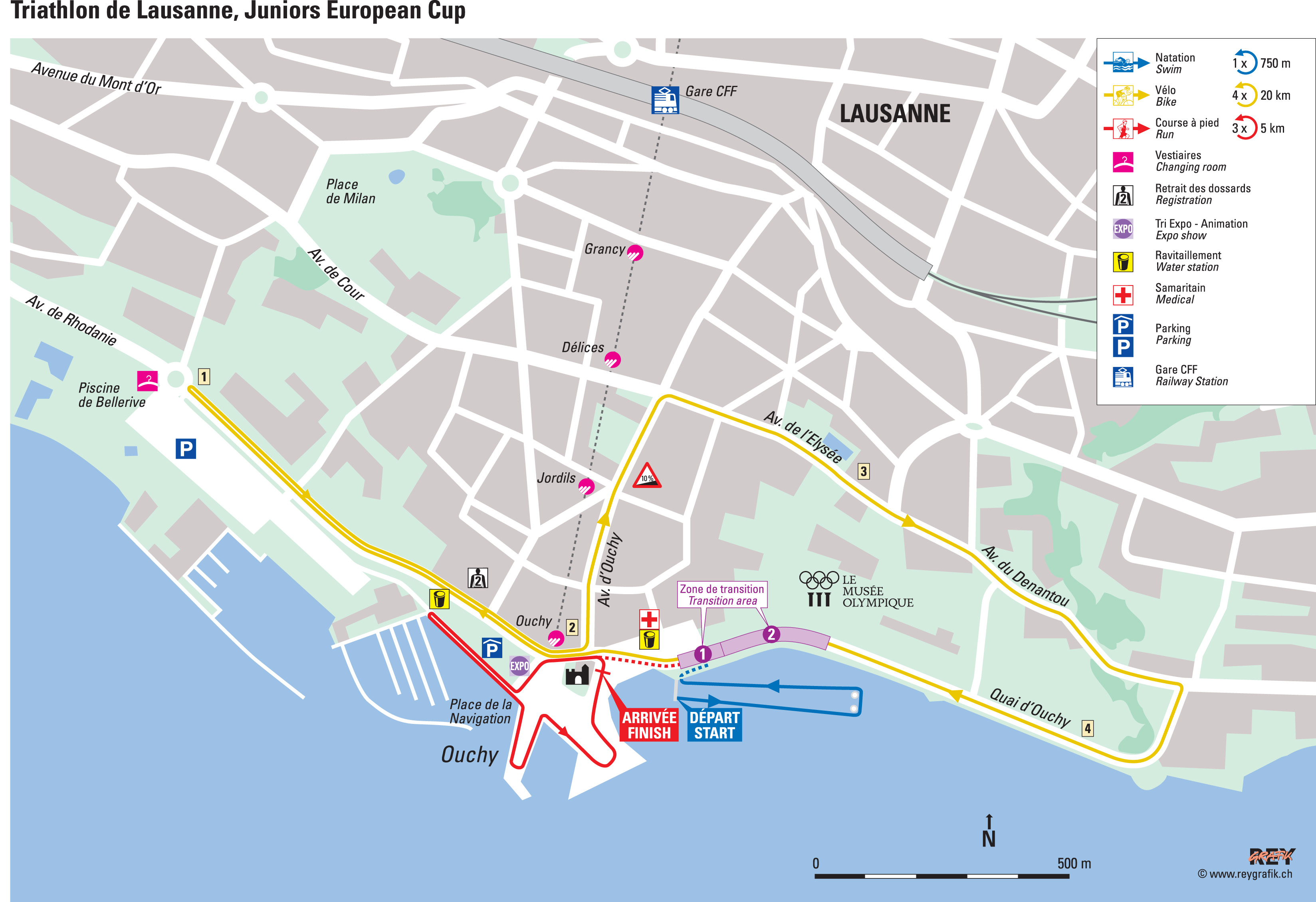 Lausanne ETU Triathlon Junior European Cup Triathlonorg - Lausanne city map