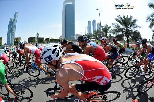 men biking in abud dhabi