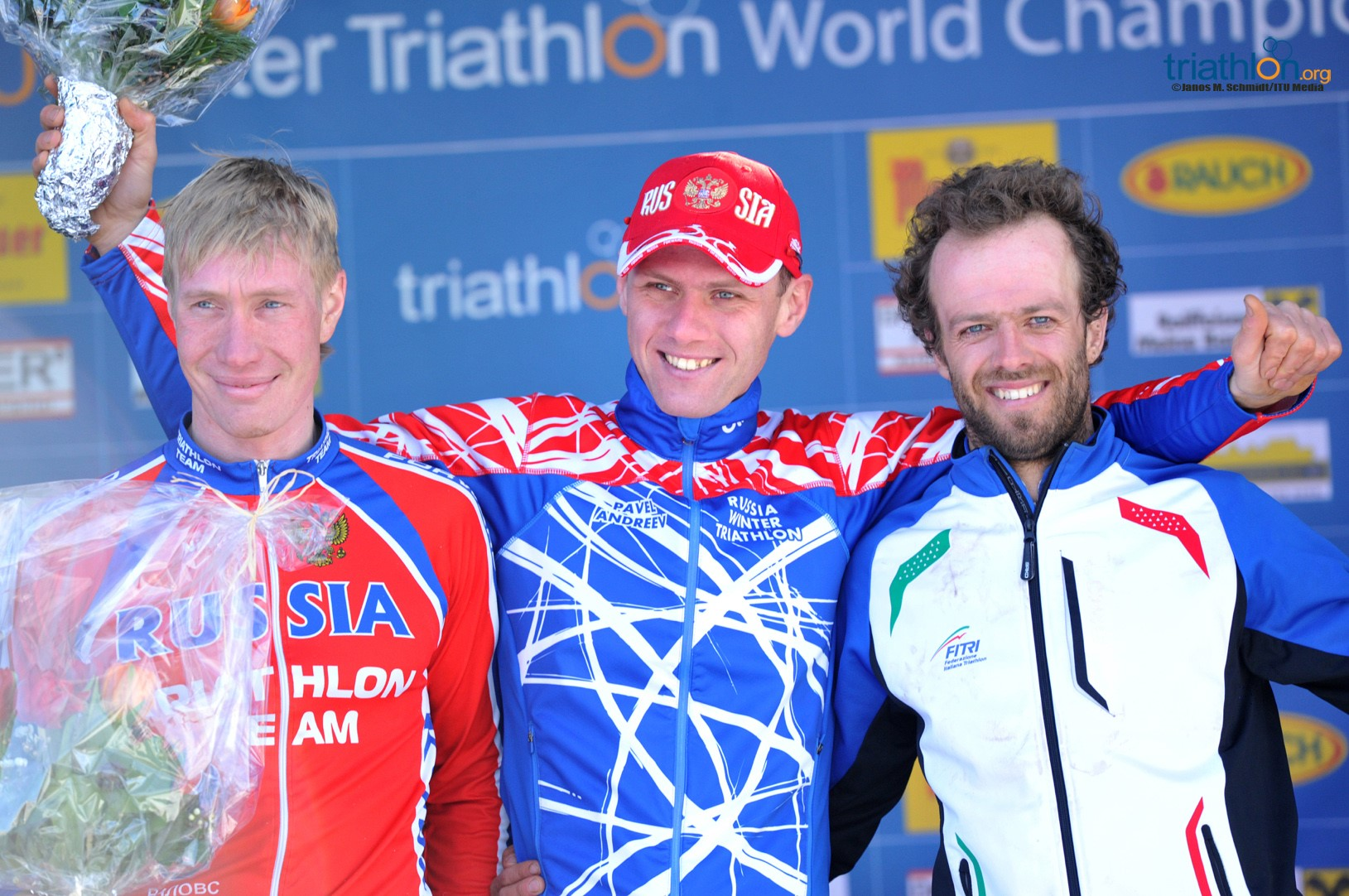 ITU Winter Triathlon World Championship Men's Podium   www.DirtTRI.com