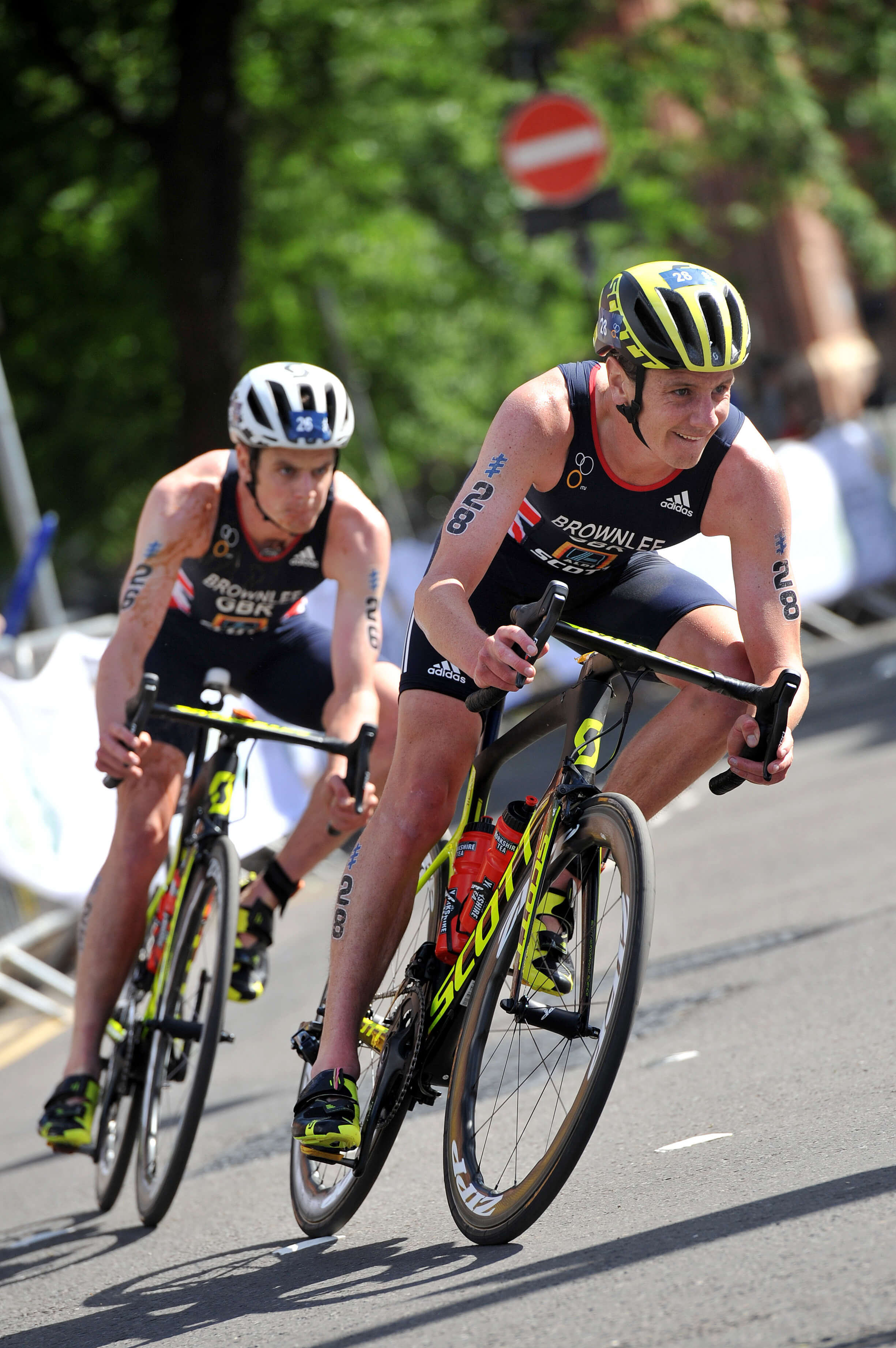 Brownlee brothers riding in Leeds