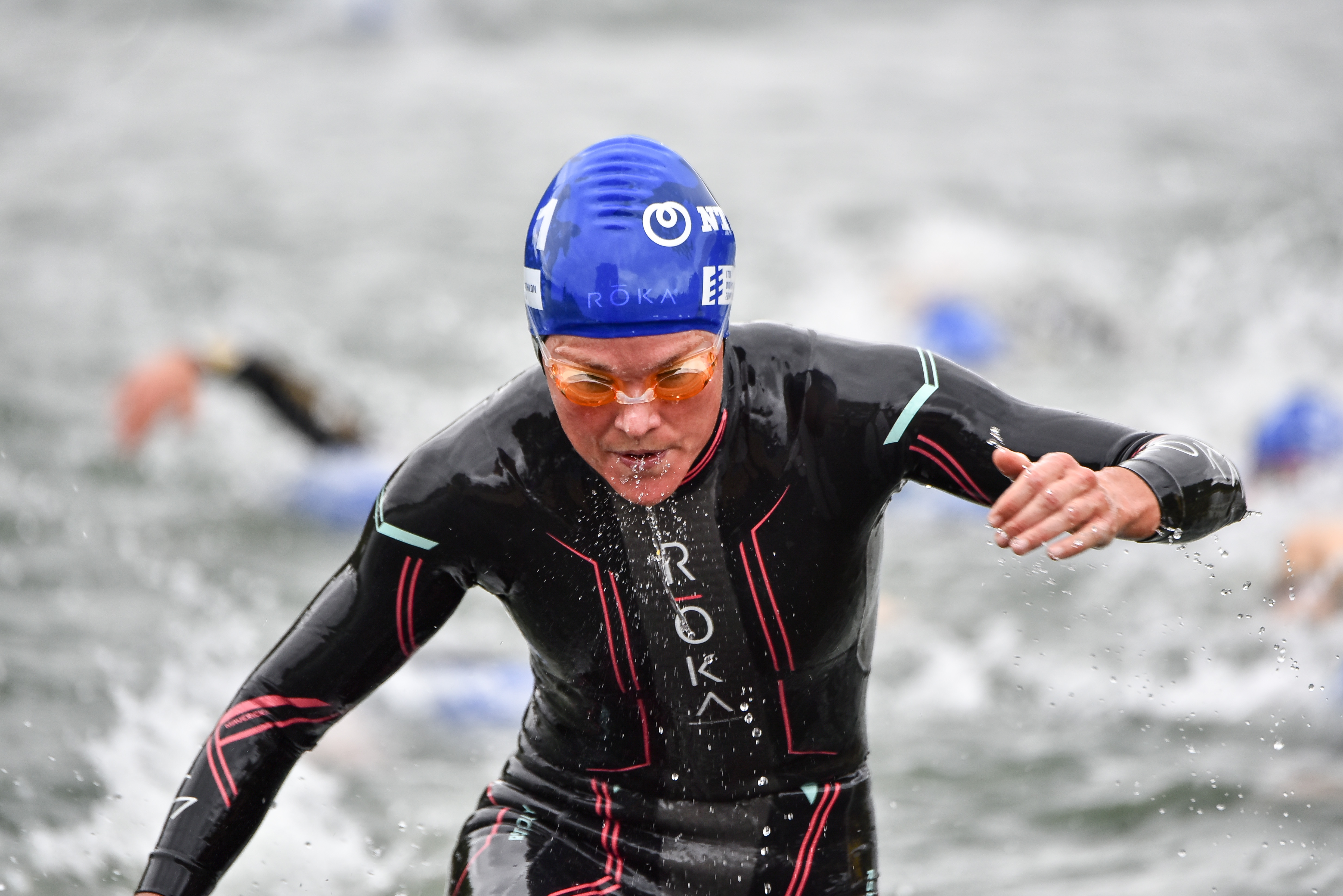 Flora Duffy exiting swim