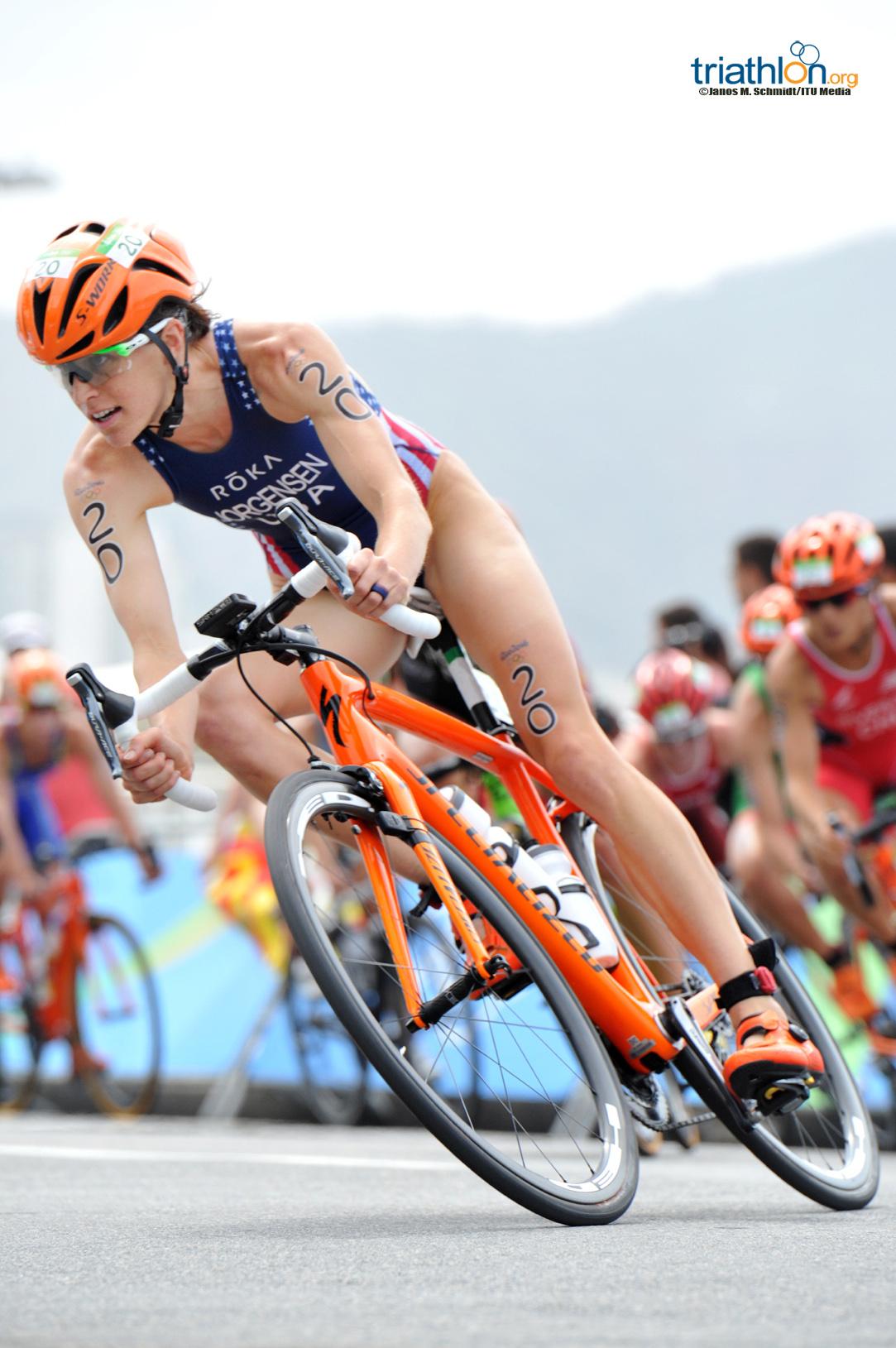 Gwen Jorgensen biking in Rio