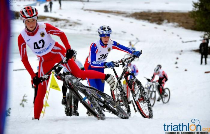 Image of a winter triathlon